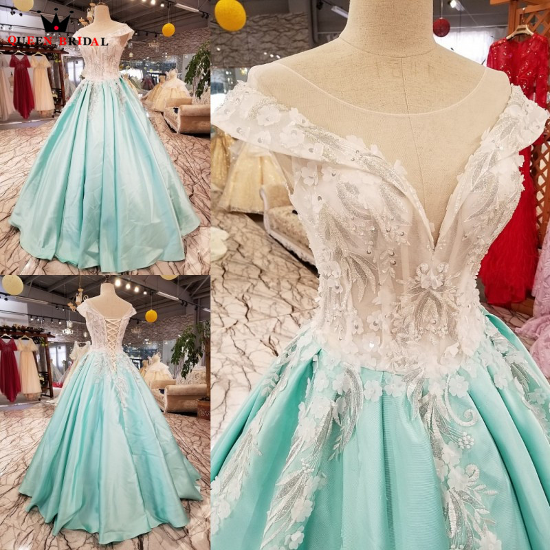 Бальное платье Небесно голубой атласная Кружевная аппликация бисером Роскошные элегантные вечерние платья Длинные вечерние для вечерние