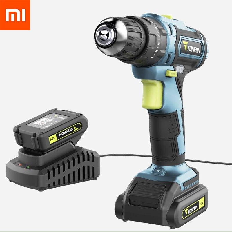 Xiaomi Mijia Tonfon wireless electric cordless drill impact power driver 12V 20V Battery 2 speed forward