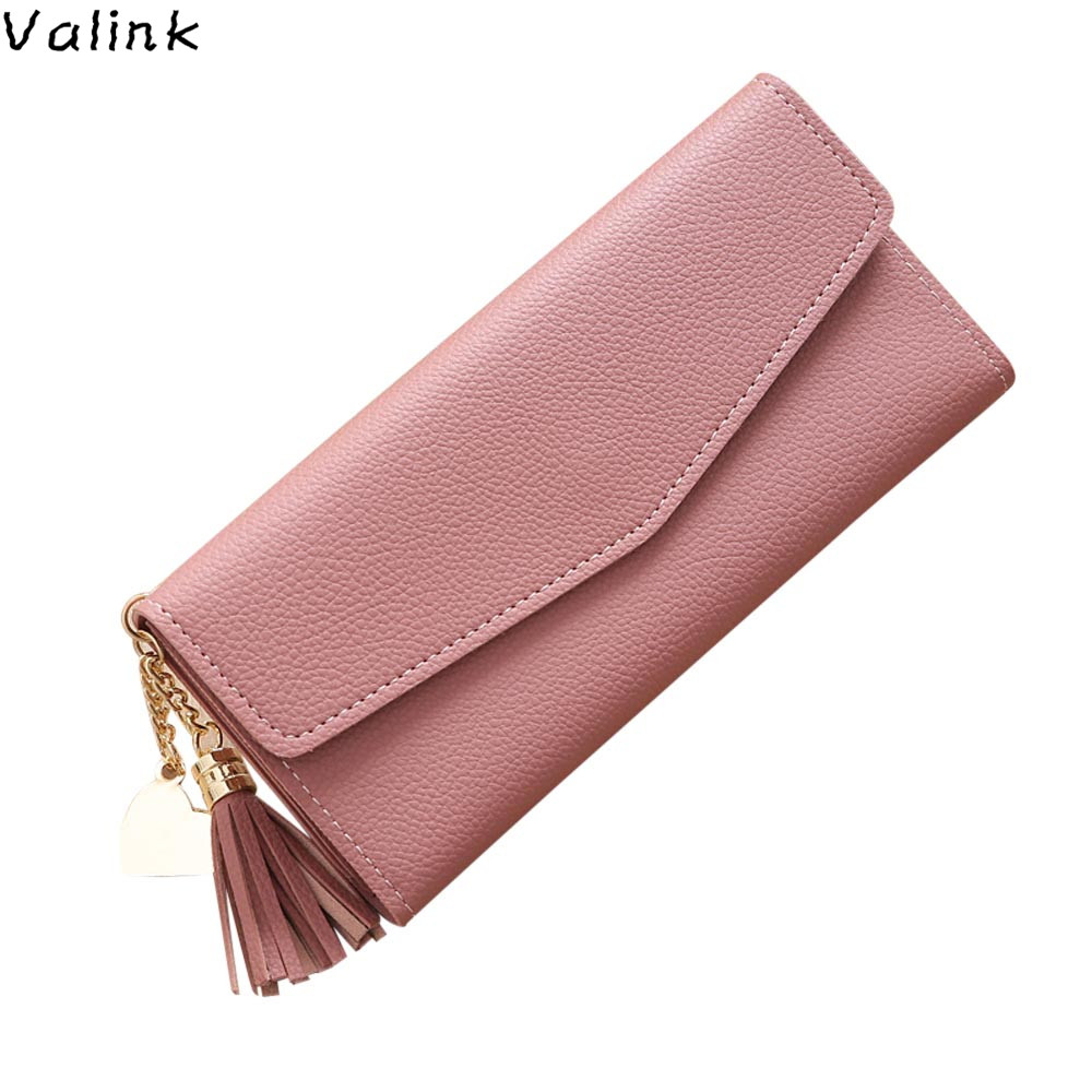 Valink 2017 Fashion Womens Wallets and Purses Long Wallet Tassel Coin Purse Card Holders Luxury Brand Female Purse Carteras