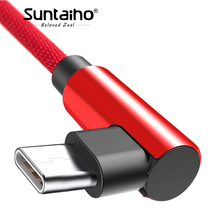 Suntaiho Elbow 90 degree For Xiaomi mi8 Type C cable one plus 6 Double-sided Plug Data USB Cable Fast Charging for Samsung A8 s9