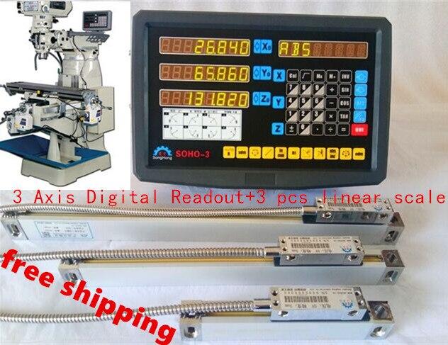 Conjunto completo de moagem de alta precisão torno CNC máquina de furar broca 3 eixo dro leitura digital com escala linear