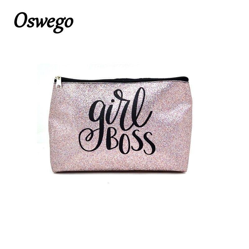 все цены на Oswego Glitter Letter Print Cosmetic Bag Women Makeup Bag PU Leather Zipper Pillow Clutch Portable Fashion Organizer Travel Bag онлайн