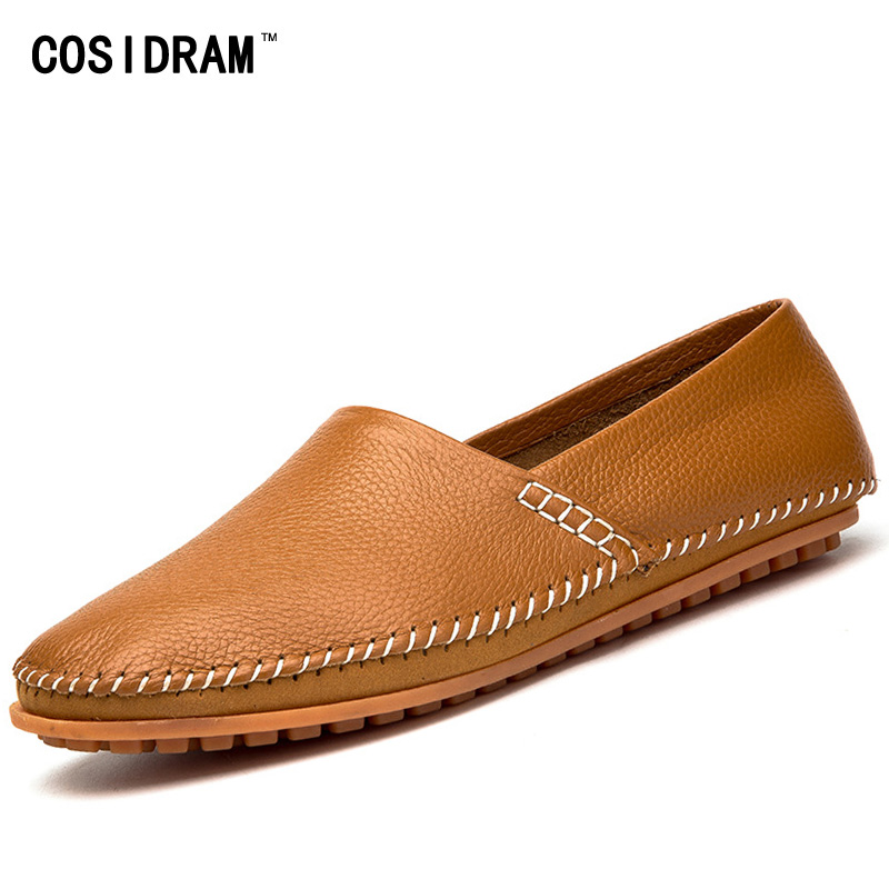 Plus Size 45 46 47 Genuine Leather Casual Shoes Soft Bottom Men Loafers Male Flats Driving Shoes Moccasins Footwear RMC-400 male casual shoes soft footwear classic flats men genuine leather shoes good quality working shoes size 38 44 aa30059