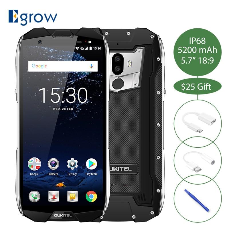 Oukitel WP5000 IP68 Водонепроницаемый 5,7 дюймов 18:9 Дисплей Android 7,1 Helio P25 Восьмиядерный 6 ГБ + 64 ГБ 5200 мАч 4 г отпечатков пальцев Смартфон