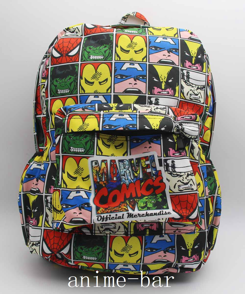 Marvel Comics Superher Laptop Backpack Q Ver. Iro Anime Shoulder School Bag Unisex Cartoon Bags anime game zelda link school backpack for boy girls bags cartoon student bookbag unisex color shoulder laptop travel bags