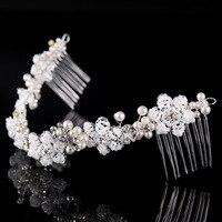 Bridal Haar Kamm Stirnband Crown Tiara Handarbeit Perlen Perle Blume Schmuck Hochzeit Zubehör DIY Haarschmuck Großhandel