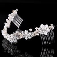 Bridal Tóc Comb Headband Thái Tiara Thủ Công Kết Cườm Trân Flower Jewelry Wedding Phụ Kiện Tóc DIY Ornaments Tóc Bán Buôn