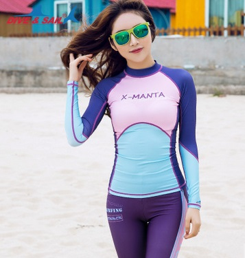 13a2ad4b6e8d6 New FemaleSexy Spandex Long Sleeve Swimwear Diving Shirts Women Bathing  Suit Plus Size Sport Print Rashguard Surfing Beach Tops -in Rash Guard from  Sports ...