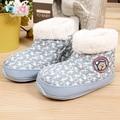 Antideslizante zapatos del niño de los niños de arranque bebé zapatos calientes botas de nieve del invierno de algodón acolchado adjunta los patines