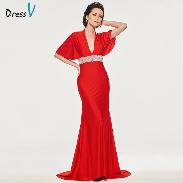 Dressv Red Mother Of The Bride Dress V Neck Half Sleeves Beading Sashes Court Train Mermaid Custom Wedding Party Mother Dress