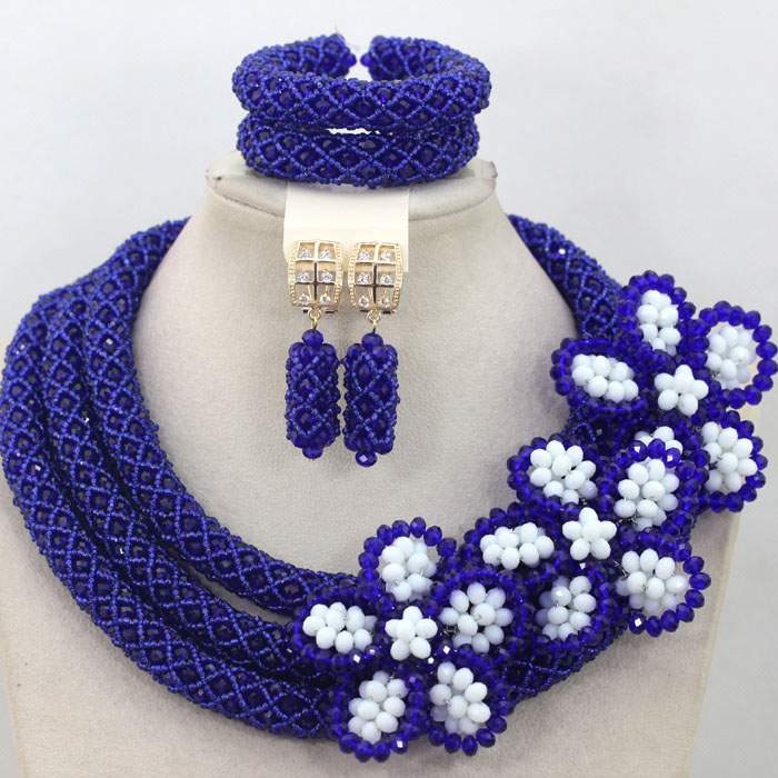 Royal Blue African Necklace Beads Jewelry Set Flower Brooch Nigerian Women Wedding Jewellery Set Engagement Free Shipping QW504 все цены
