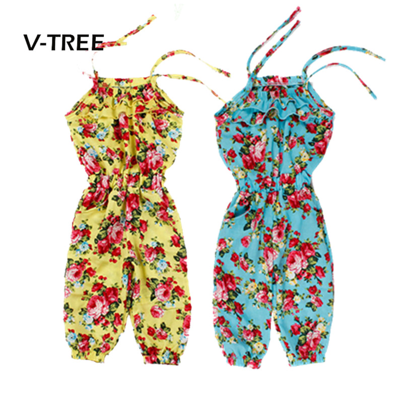 697a67c35b2 V-TREE Kids Baby Girls Overalls Pants Clothes Summer Sleeveless Jumpsuit  Trousers Romper Outfits Clothes