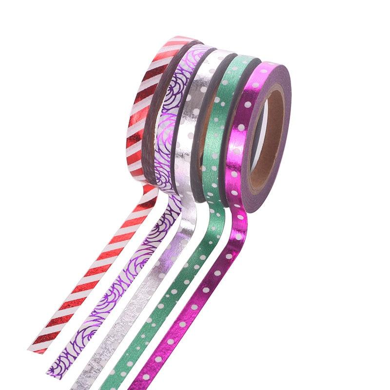 (5 pieces/lot)  Foil Gold Slim Washi tape Scrapbooking DIY Sticker Deco Christmas Masking Tape Lot