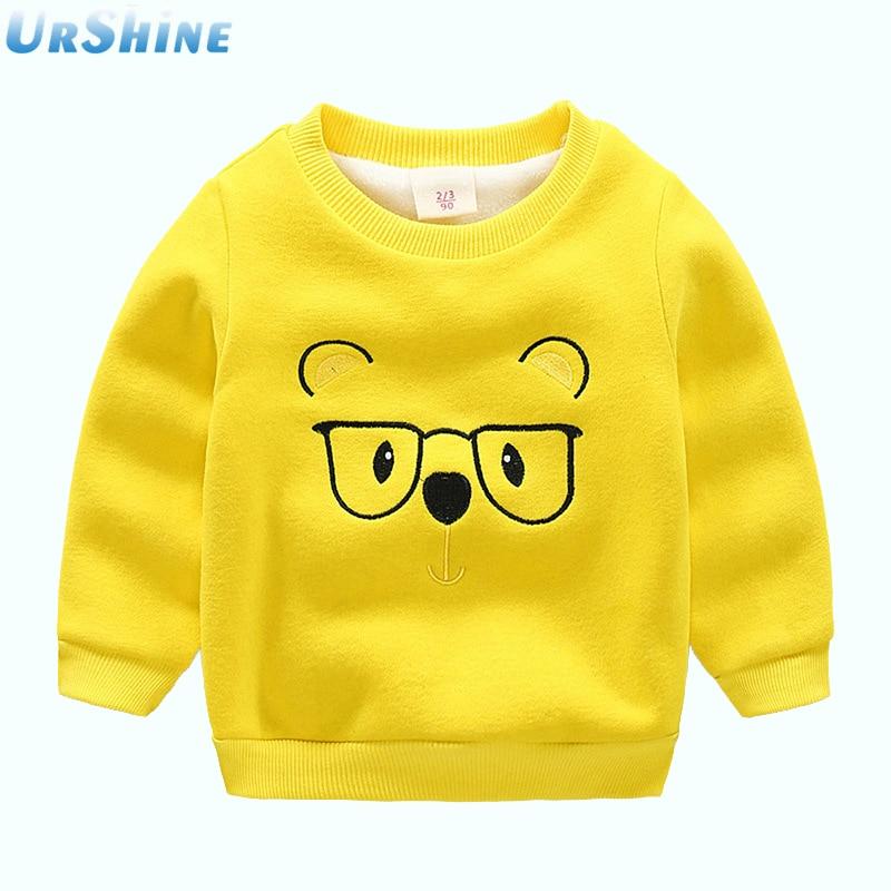 2018 New Baby Girls Boys Sweatshirt Outwear Cotton Kids Clothes Tops Children plus velvet cartoon Sweatshirts