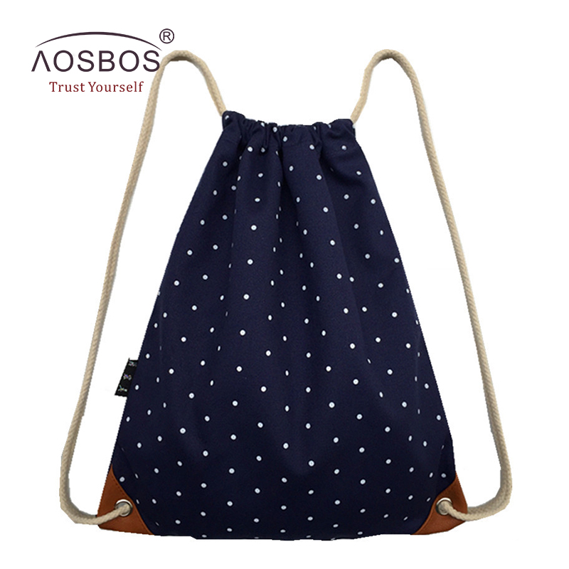 Aosbos Canvas Drawstring Backpack Durable Sports Bags For Women Men Outdoor Fitness Gym Bag For Shoes Storage Drawstring Bag