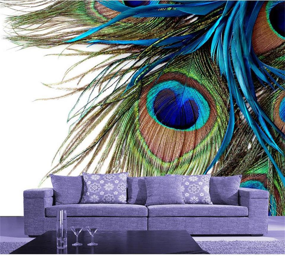 где купить custom mural wallpaper room 3d photo wallpaper peacock feather 3d photo painting sofa TV background non-woven sticker wallpaper по лучшей цене