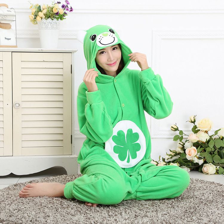 Lucky bear Kigurumi Onesies Costumes Men and women Hooded animal cartoon pajamas blue shark home lovers long sleeve Jumpsuits