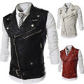 Leather Jacket Men Man Spring Men's Fashion Sleeveless Male Leather Vest Jackets For Men Veste Cuir Homme jaqueta de couro