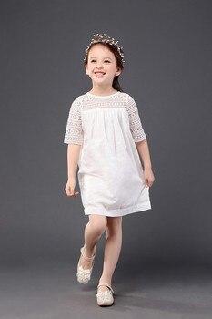 Vestido bonito para niñas de 5 a 6 años, vestido de encaje para bebés pequeños, Ropa para Niñas de verano informal de media manga, minivestido blanco con cuello redondo liso