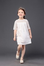 beautiful dress 3-7years girls lace for toddler baby clothes summer casual half sleeve mini solid o neck white