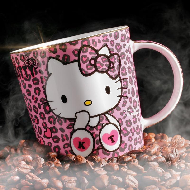 d840c497e Best Quality Hello Kitty White Cat Exquisite Leopard Print Fashion Bone  China Coffee Mug Girl Lover Gift Box Tea Milk Cup Caneca
