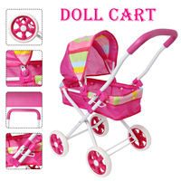 Pink Baby Doll Stroller for Dolls Pretended Play dable Metal Pram Pushchair for Doll Accessories Furniture Toy For Kids