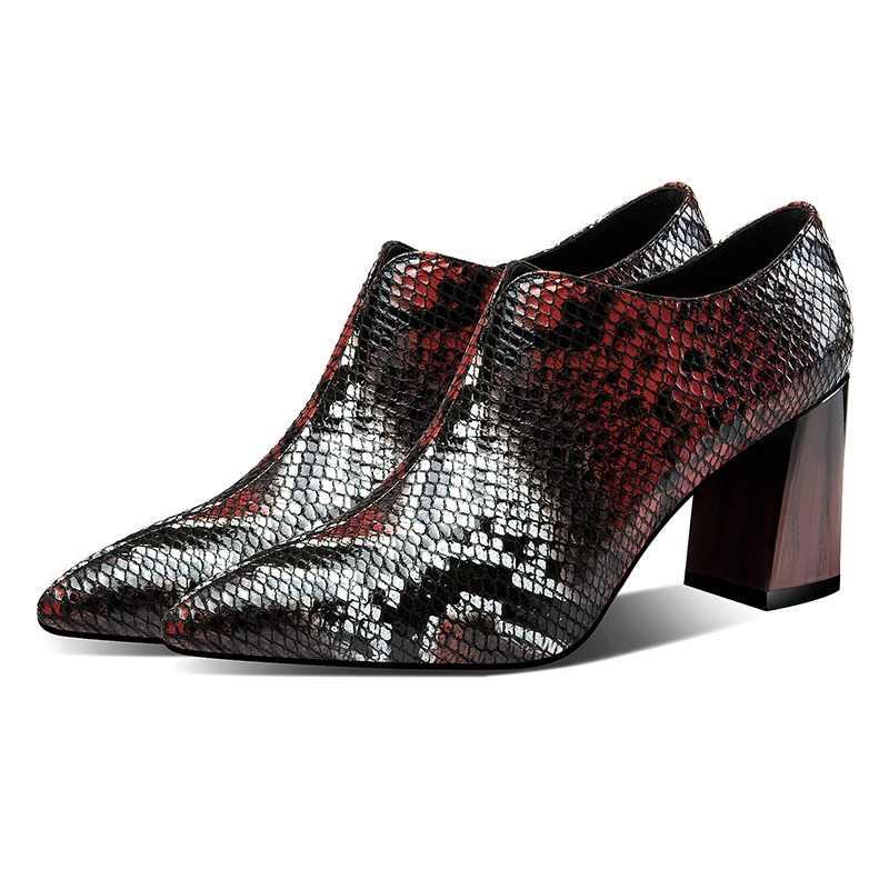 Marka ayakkabı bahar yarım çizmeler parti elbise ayakkabı kadın el yapımı hakiki deri yüksek topuklu platform kırmızı ofis bayan ayakkabı