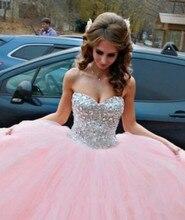 2016 rosa Prinzessin Quinceanera Kleider Ballkleid formale party Kleider Abendkleider Puffy Tüllrock Sparkly Crystals brautkleider