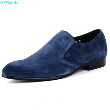 QYFCIOUFU Brand 100% Genuine Leather Slip On Men's Suede Shoes Business Shoes High Quality Black Italian Fashion Dress Shoes