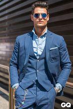 2017 Latest Coat Pant Design Blue Men Suit Slim Fit 3 Piece Casual Tuxedo Custom Groom
