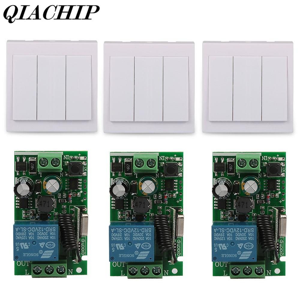 433Mhz 3CH 86 Wall Panel Transmitter Remote Control Switch 1CH RF Receiver AC 110V 220V Ceiling Light Wireless Control DIY DS30 220v 1 ch 1ch rf wireless remote control switch system for led bulb light strips mini receiver 3ch 86 wall transmitter