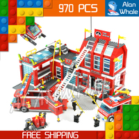 970pcs 2016 New City Fire Station Truck Firefighter Minifigures Large Model Building Blocks Christmas Toys Compatible