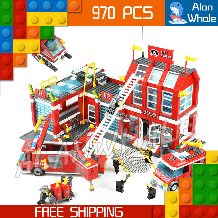 970pcs New City Fire Station Truck Firefighter Helicopter 911 Large Model Building Blocks Toys Construction Compatible with lego 605pcs city scaling ladder fire engines rescue truck 3d firefighter 908 model building blocks children toys compatible with lego