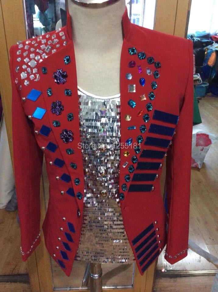 새로운 사용자 정의 플러스 사이즈 레드 재킷 무대 파란색 의상 수제 라인 석 남성 나이트 클럽 코트 겉옷 남성 가수 복장