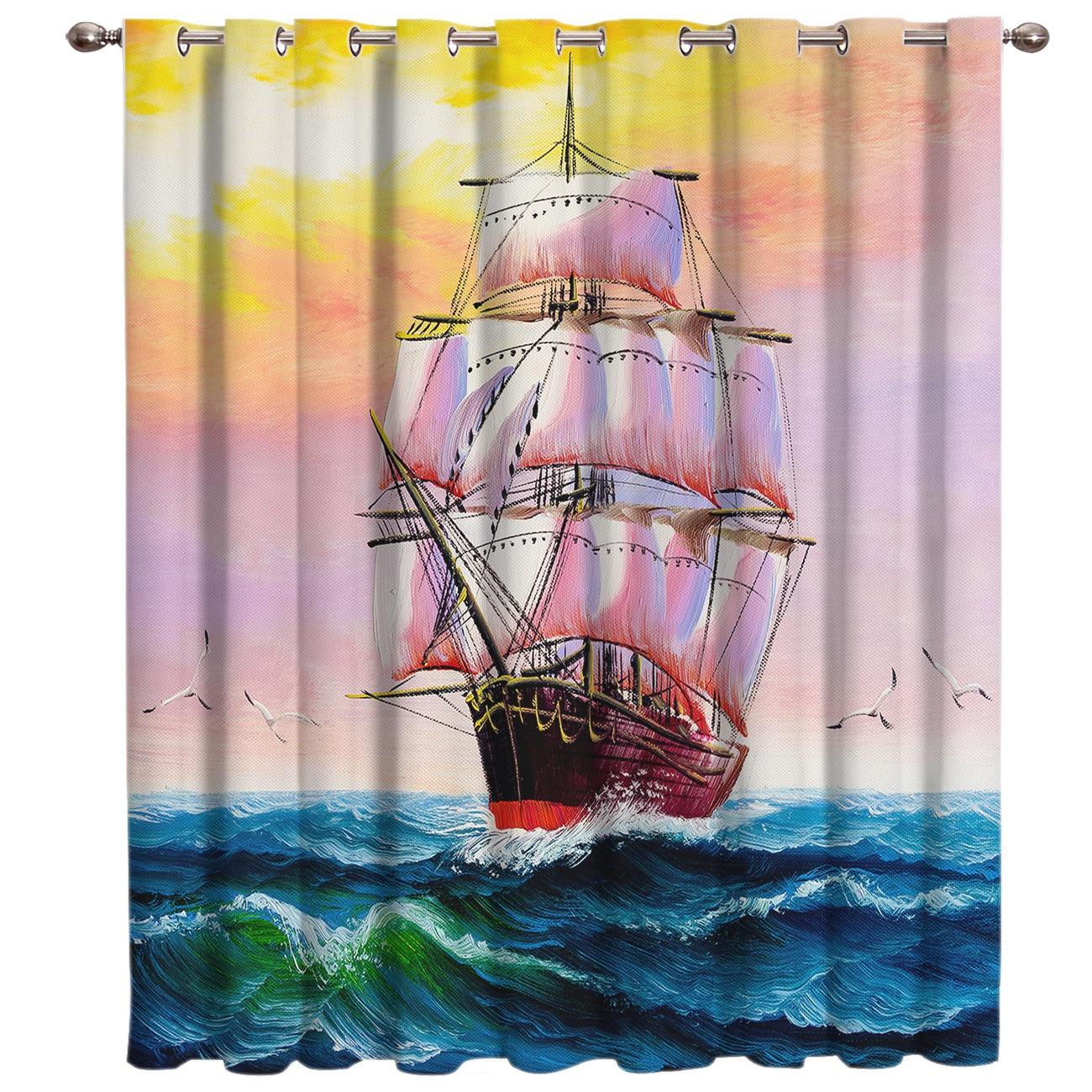 Ferry Oil Painting Retro Window Treatments Curtains Valance Curtain Rod Bathroom Blackout Bedroom Drapes Fabric Decor Kids