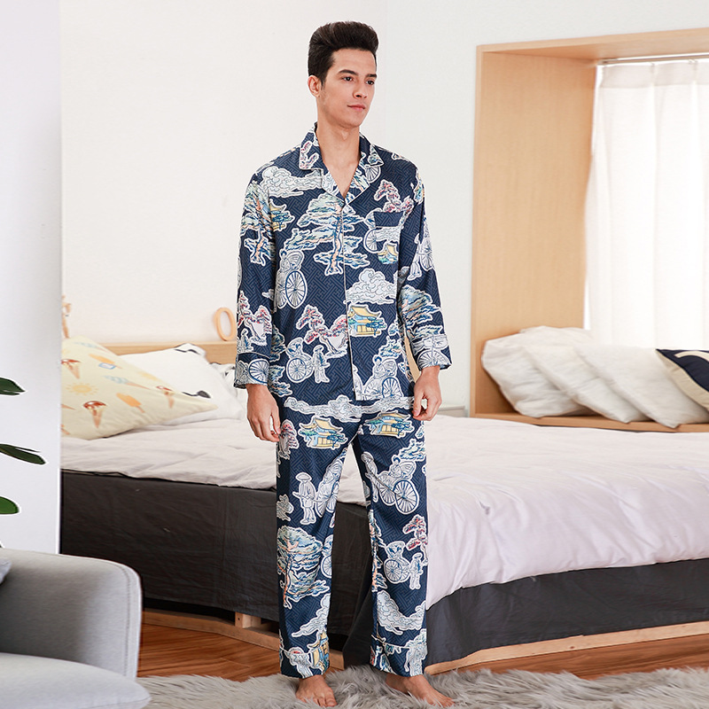 Long Sleeve Satin 2PCS Shirt&Pant Pajamas Suit Navy Blue Men Nightwear Sleep Set Spring Autumn New Home Clothes Negligee