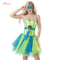 Alivila. Y Mody Kobiety Niebieski/Żółty Rozmiar Zipper Steampunk Overbust Gorset Olśniewająca Superwoman Cosplay Kostiumy Halloween