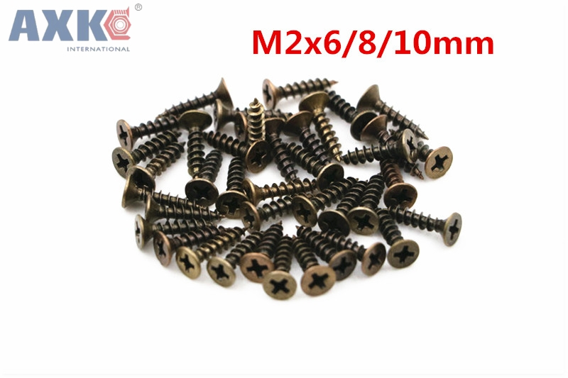 Home Improvement Orderly Axk 500pcs 2x6/8/10mm Screws Bronze Tone M2 Flat Round Head Fit Hinges Countersunk Self-tapping Screws Wood Hardware Tool Modern And Elegant In Fashion