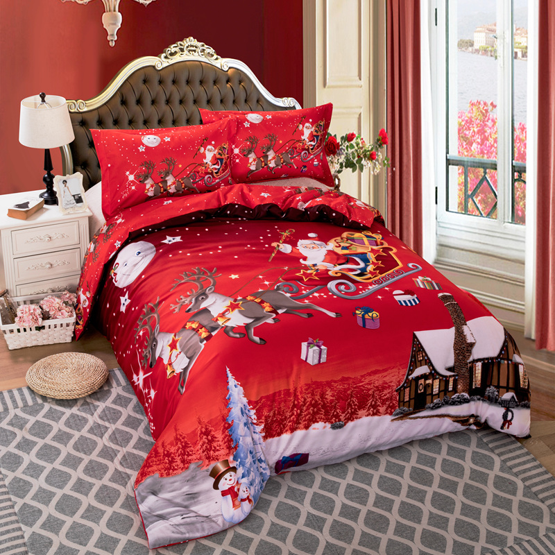 Red Color For Bedroom: Christmas Bedding Santa Claus Bed Linen Red Color