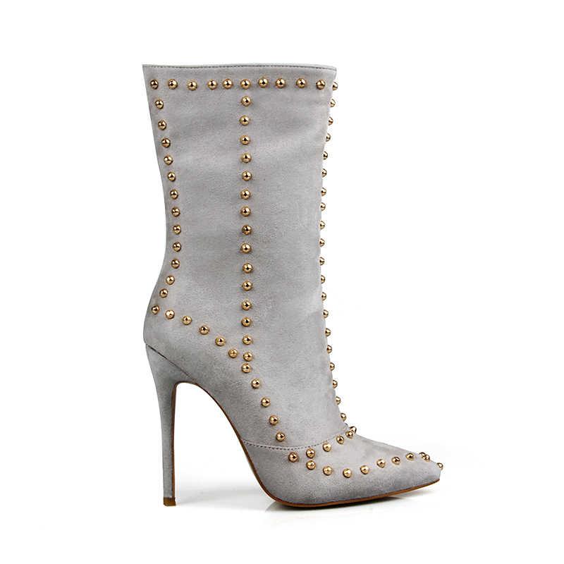Perixir Flock botas de motocicleta para mujeres zapatos Sexy media pantorrilla Super fino botas de tacón alto negro puntiagudo remache botas de Mujer