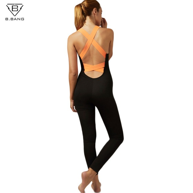b3c13adcdbe B.BANG Women Sexy Backless One-piece Sportswear Yoga Sets Leggings Gym  Fitness Clothing Suit for Woman Running Jumpsuits