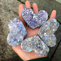 1pcAmethyst Geode Heart Shaped Crystal Healing Crystals Stones Titanium Rainbow Aura Amethyst Cluster Angel Aura Quartz gemstone