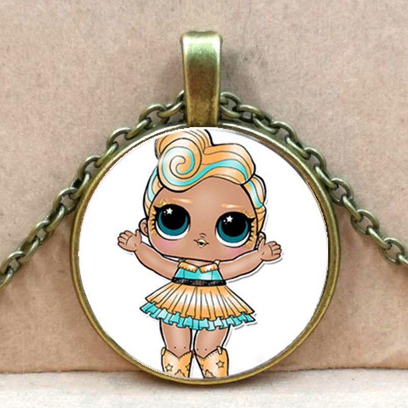 Мультяшное ожерелье с изображением куклы милое детское блестящее платье принцессы куклы стеклянные ожерелья аниме для детей подарок на день рождения - Окраска металла: bronze 2