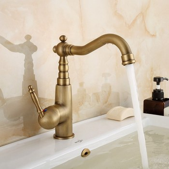Antique Brass Bathroom Basin Faucet Vessel Sink Mixer Tap Single Hole/Handle Cold And Hot Water Tap KD728 antique brass bathroom faucet waterfall mixer one hole handle basin sink tap single handle mixer tap cold hot water faucet