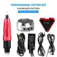 Профессиональный набор для татуировок, тату машинка, пистолет Aurora II, электропитание, педаль для ног, постоянный макияж, Набор Татуировок
