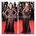 2014 nueva llegada del envío gratis Cannes cuello alto de encaje especial encaje vestido de la celebridad