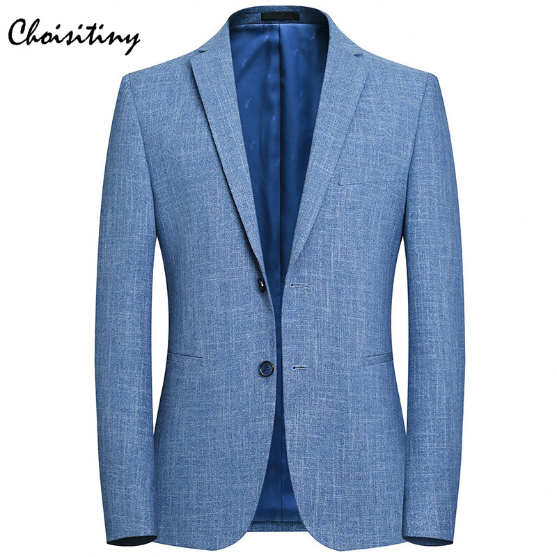 New 2018 Brand Casual Solid Blazer Jacket Men Flower Brooch Korean Trend Suit Male Wedding Dress Slim Fit Blue Blazer Coat Man