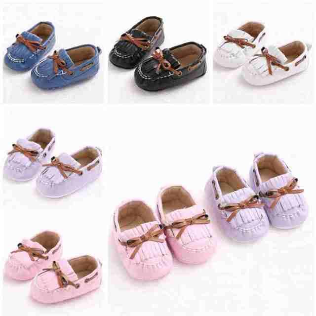 544fe9478 PU de Couro Clássico Crianças Mocassins Calçados Infantil Criança Primeira  Walkers Suave Sola Anti-Slip
