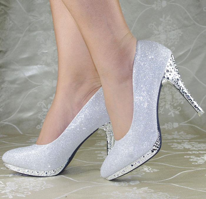 Wedding Silver Heels: Shiny Fashion Women Plain Slip On Prom Wedding Shoes High