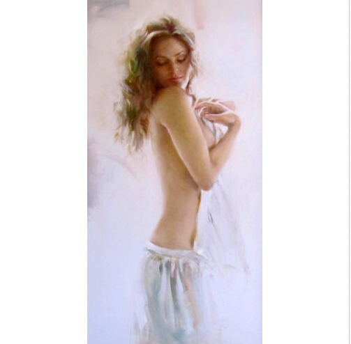 Free Shipping Hand-painted Art Oil paintingportraits nice young girl with White towels <font><b>after</b></font> <font><b>bathing</b></font> for living room